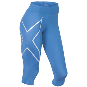 2XU W's Mid-Rise Compression 3/4 Tights Pacific Blue/Silver logo